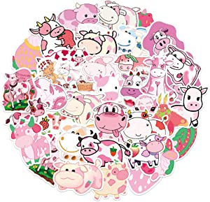 50 Pcs Cute Anime Aesthetic Stickers Pack for Strawberry Cow, Pink Stickers for Laptop Waterbottle Flasks MacBook Computer Phone Luggage,Waterproof Vinyl Stickers for Kids Boys Girls Teens Toddlers.