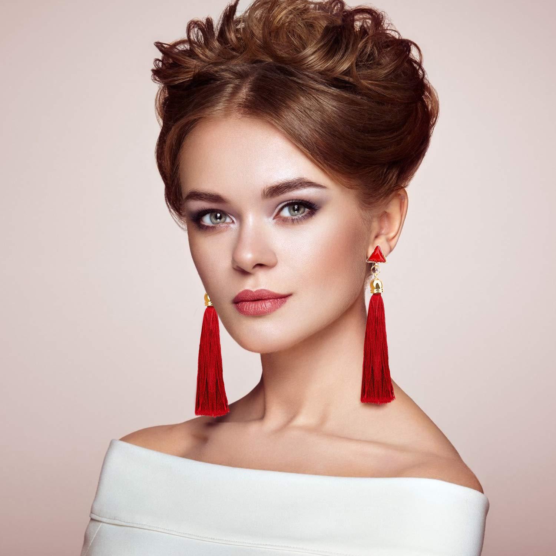 JACEDOFU 36 PairsTassel Earrings Layered Long Thread Ball Dangle Earrings Stud Earring Bohemian Tiered Tassel Drop Earrings Fashion Jewelry for Women Girls Valentine Birthday Party Gifts