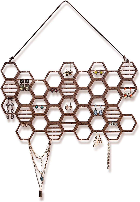 HEESCH Hanging Earring Holder Honeycomb Earring Organizer Wall Mount