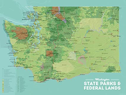 National Parks In Washington State Map.Amazon Com Washington State Parks Federal Lands Map 18x24 Poster