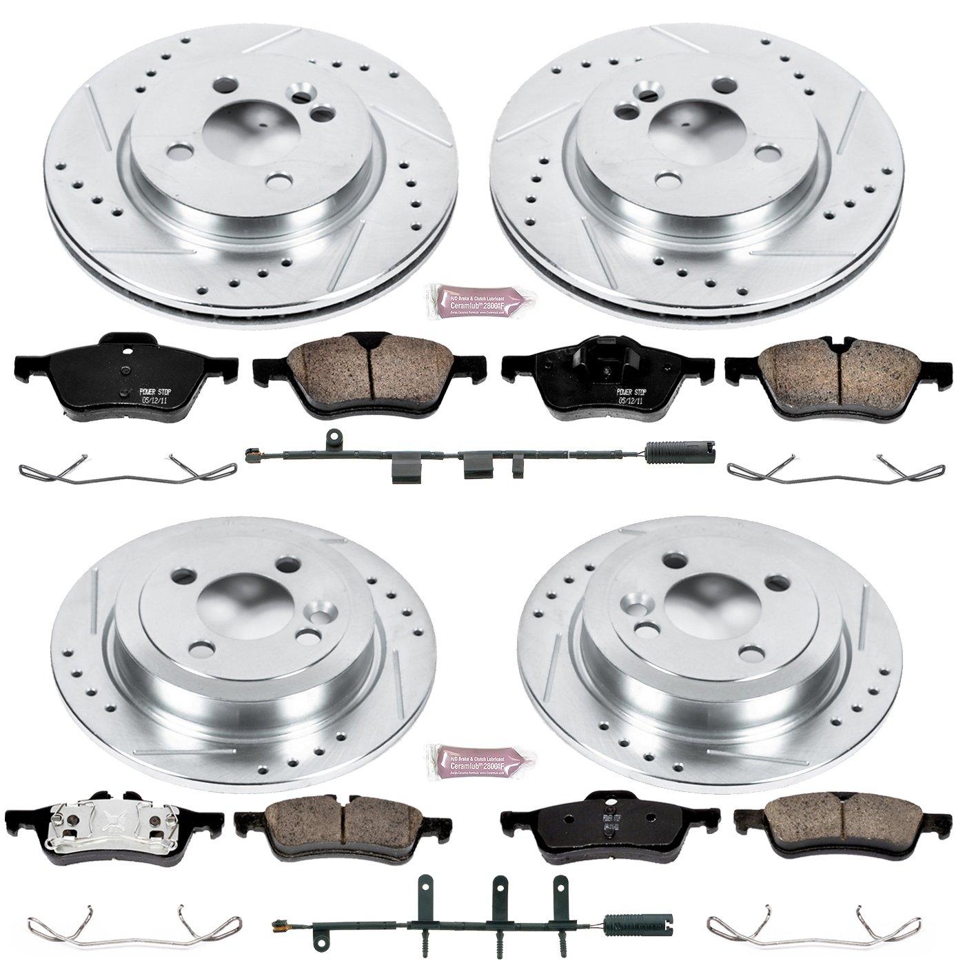 Power Stop K1381 Front /& Rear Brake Kit with Drilled//Slotted Brake Rotors and Z23 Evolution Ceramic Brake Pads