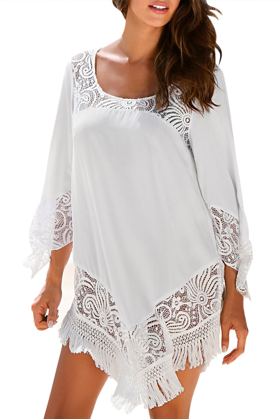 SUNNOW Women Simple Style Sexy Oversize Lace Bikini Cover Up Beach Blouse (one Size, White)