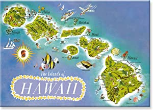 Hawaiian Art Collectible Refrigerator Magnet - The Islands of Hawaii by Dessiaume