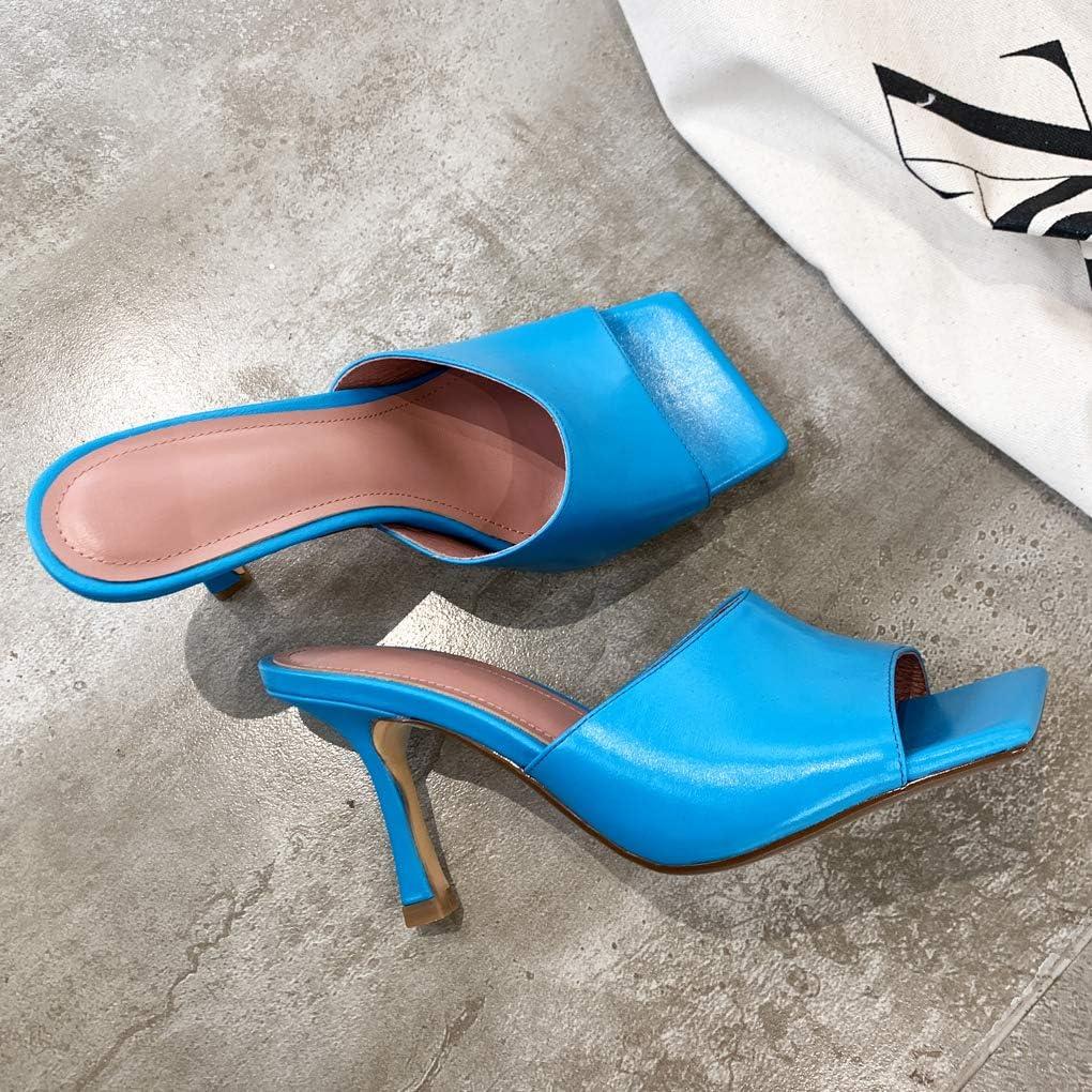 ANNIESHOE Mules Femme Mode Cuir Confort Sandales a Talon Haut Ete