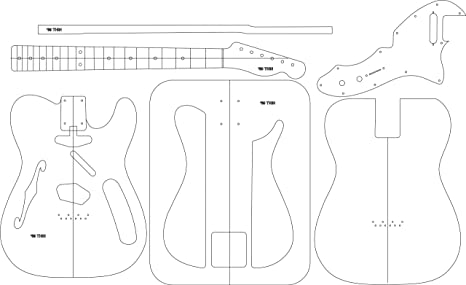 Amazon Com Electric Guitar Layout Template 69 Thin Musical
