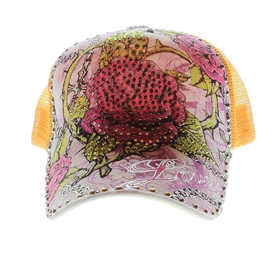 Brillantes pericárdicoy Mesh Cap rosas amarillo con muchos Diseño ...