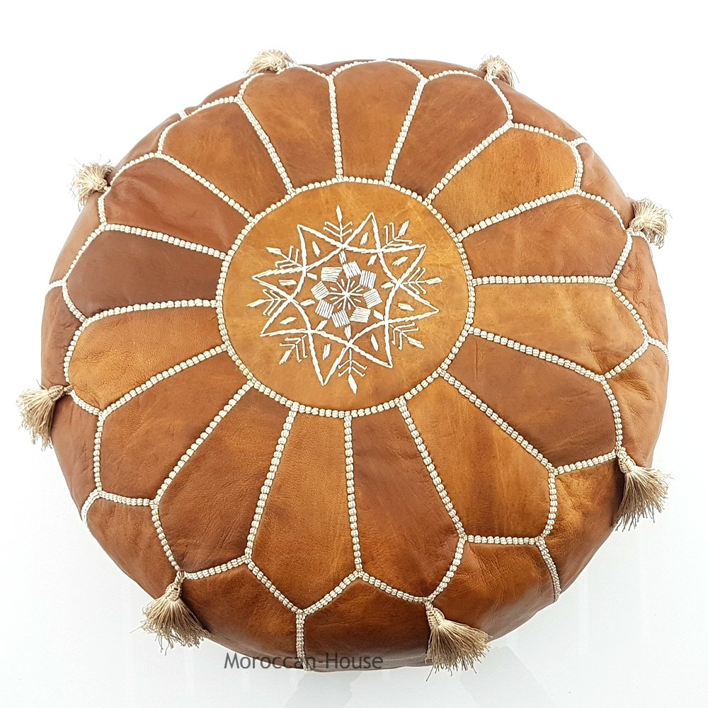 LIMITED EDITION Moroccan Leather Pouf Best offer ,100% handmade Ready to magic your living room! by Moroccan-House (Image #4)