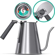 Gooseneck Kettle - Coffee Gator True Brew Coffee Kettle - New 2019 Model - Integrated Thermometer, Speedy-fill Lid - Profess