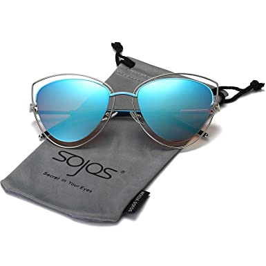 680bc77b8e SojoS Women s Double Wire Double Rimmed UV400 Cat Eye Sunglasses SJ1047  With Silver Frame Blue