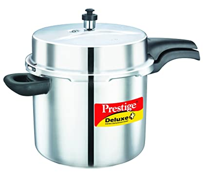 Prestige Deluxe Plus Induction Base Stainless Steel Pressure Cooker, 10 Litres