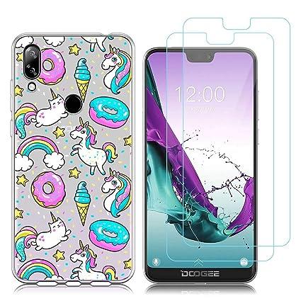 kaliter Funda Doogee N10 Case,Dulces Arcoiris Unicornio Suave TPU Gel Silicona Protectora Smartphone Carcasa para Doogee N10 (5,84 Pulgadas) con Dos ...