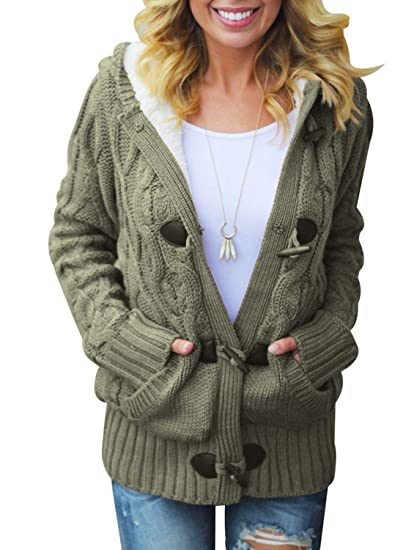 Dokotoo Womens Hooded Cardigans Button Up Cable Knit Sweater Coat