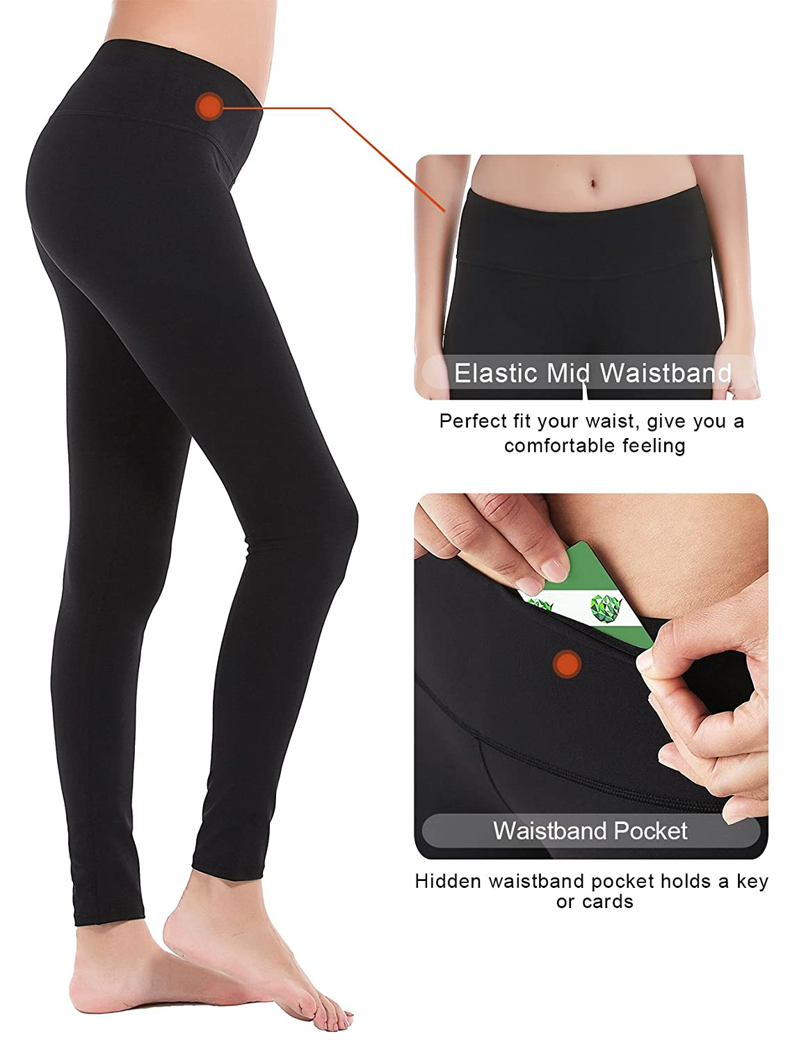 a96a17110e DeepTwist Womens Yoga Pants Active Ankle Workout Leggings Stretch Running  Tights with Hidden Pocket, SZ4002-Black-6 at Amazon Women's Clothing store: