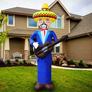 SEASONBLOW 8 Ft Cinco De Mayo Day Mexican Inflatable Skull Man with Guitar Blow Up LED Lighting Decoration for Lawn Garden Yard Indoor Outday Home Decor