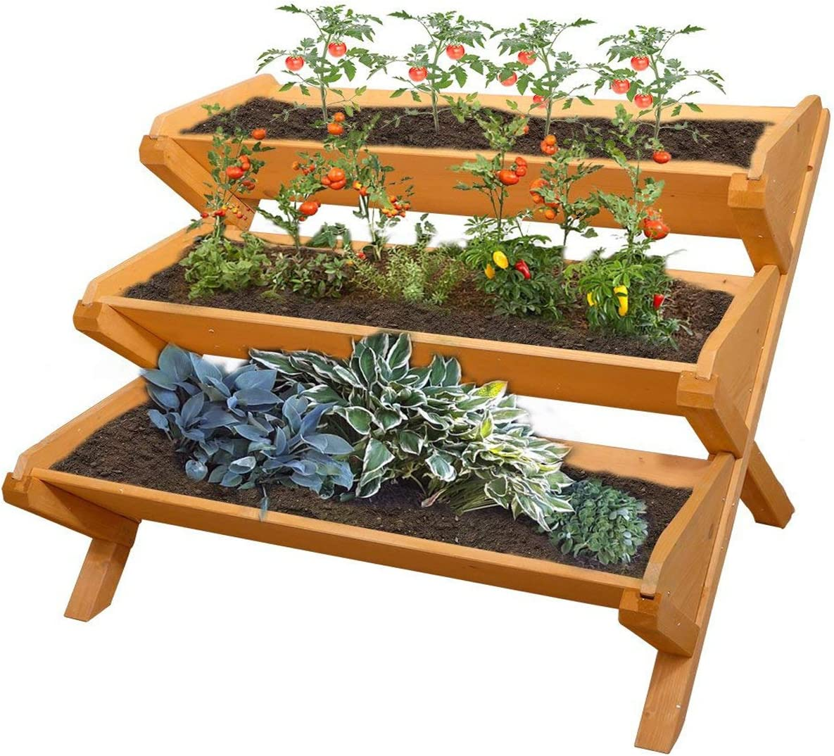 A 3 tiered raised garden planter stand for vertical gardening
