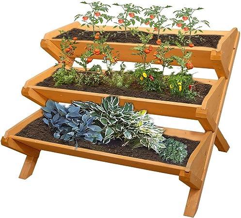 Wooden Vegetable Garden Bed 3-Tier Planter Box Outdoor Gardening Pots Boxes Sale