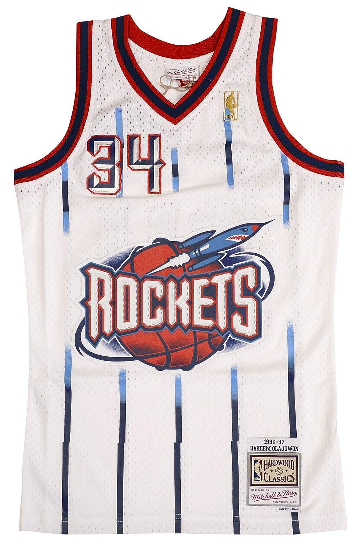 9c5845785 Amazon.com   Mitchell   Ness Hakeem Olajuwon Houston Rockets Swingman Jersey  White (Small)   Sports   Outdoors