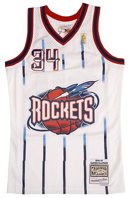 dd9fd7d2a Mitchell   Ness Hakeem Olajuwon Houston Rockets Swingman Jersey White  (Small)