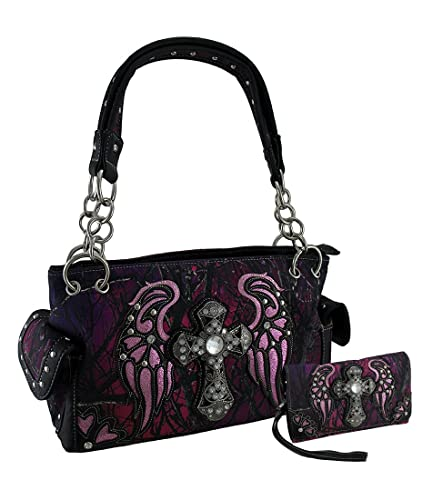 cf1f8174dc Amazon.com  Moonlight Camo Angel Wings   Rhinestone Cross Concealed Carry  Purse Wallet Set  Shoes