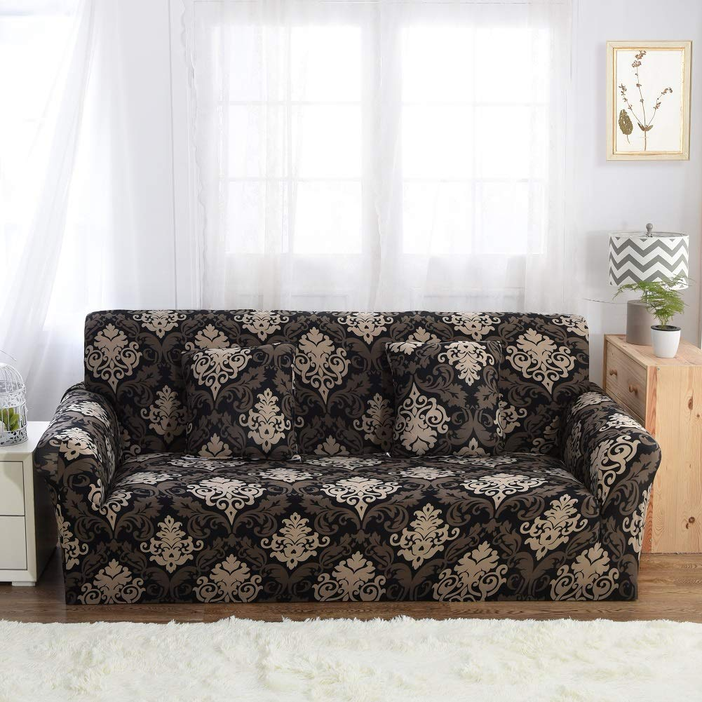 Lamberia Printed Sofa Cover Stretch Couch Cover Sofa Slipcovers for Couches and Loveseats with One Free Pillow Case (Baroque, Loveseat)