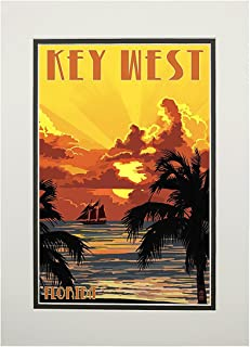 product image for Key West, Florida - Sunset and Ship (11x14 Double-Matted Art Print, Wall Decor Ready to Frame)
