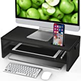LORYERGO Monitor Stand Riser - 16.5 inch 2 Tier Desktop Stand for Laptop Computer, DeskOrganizer with Phone Holder and Cable Management, Organization Stand for Printer & Office Supplies