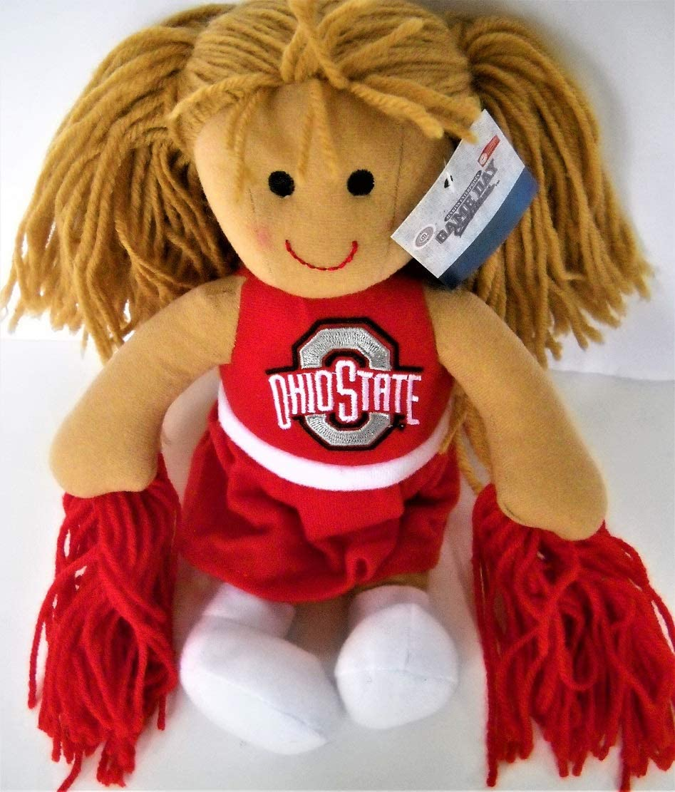 Jenkins Enterprises Ohio State OSU Buckeyes 11-Inch Cheerleader Rag Doll with Shakers and Embroidered School Logo on Scarlet Red Dress