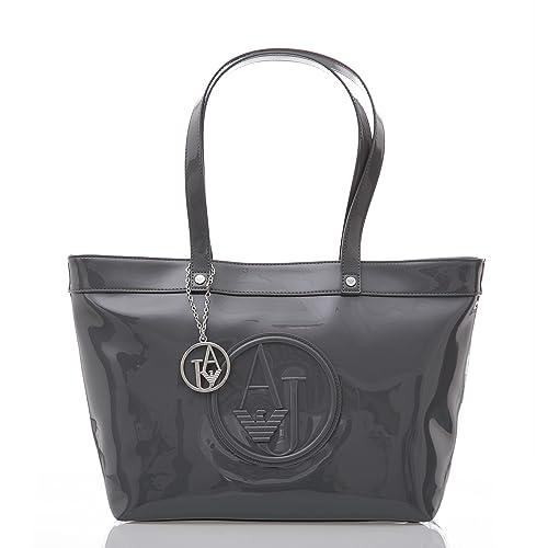2ee9c5bb00 BORSA LUCIDA VERNICE BAG SHOPPING DONNA ARMANI JEANS: Amazon.it: Scarpe e  borse