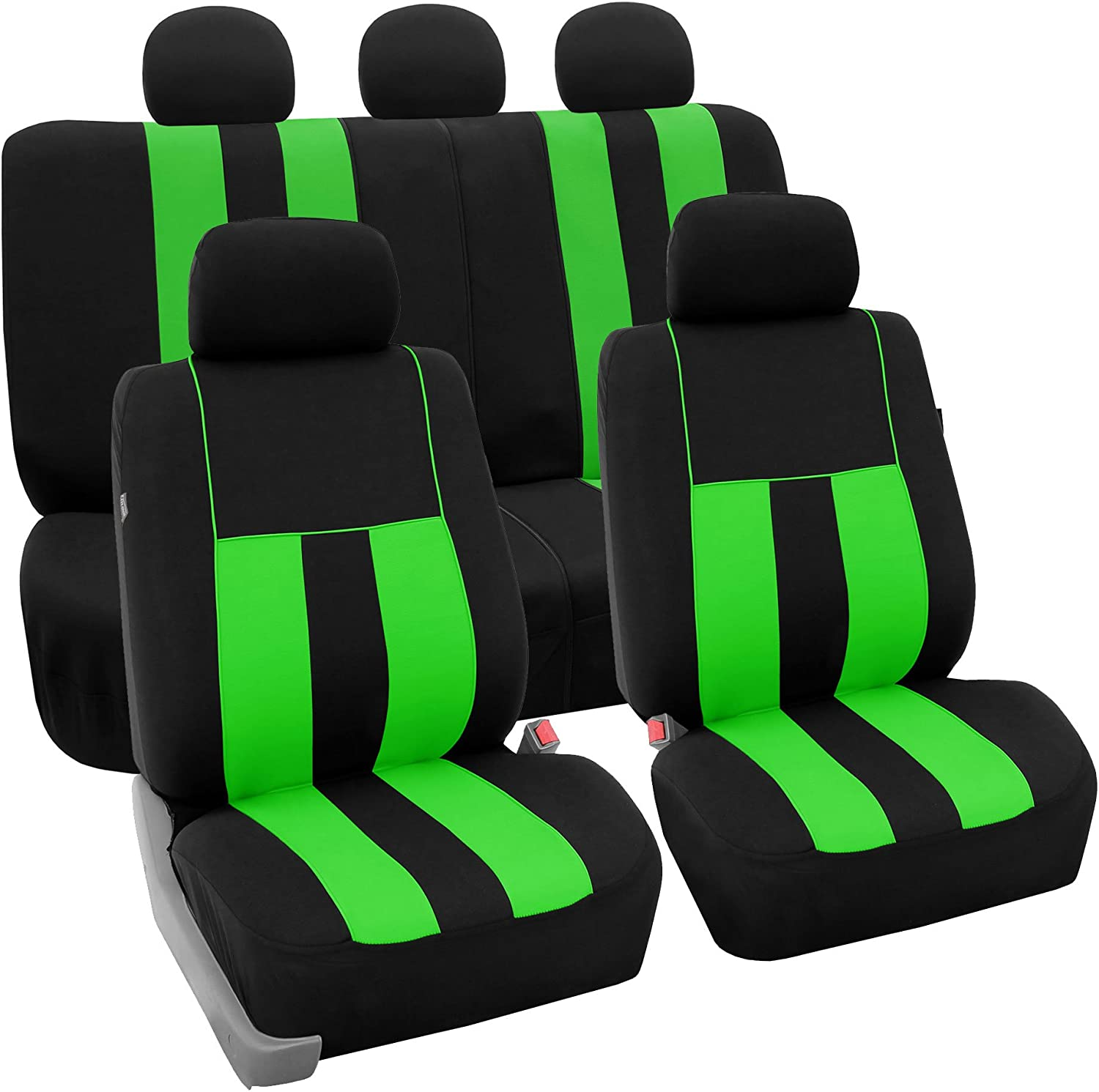 FH Group FB036GREEN115 Seat Cover Airbag Compatible and Split Bench Green