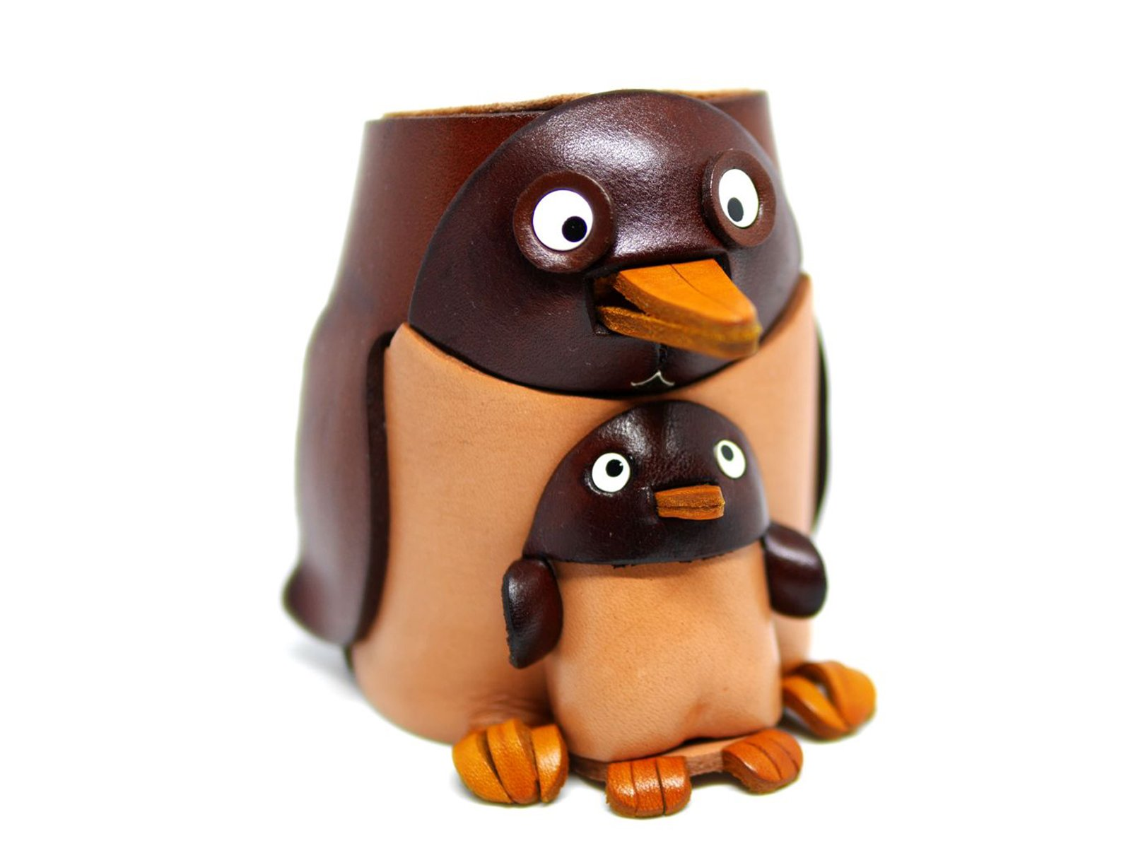 Penguin Genuiine Leather Animal/Dog Eyeglasses Holder/StandVANCA Handmade in Japan