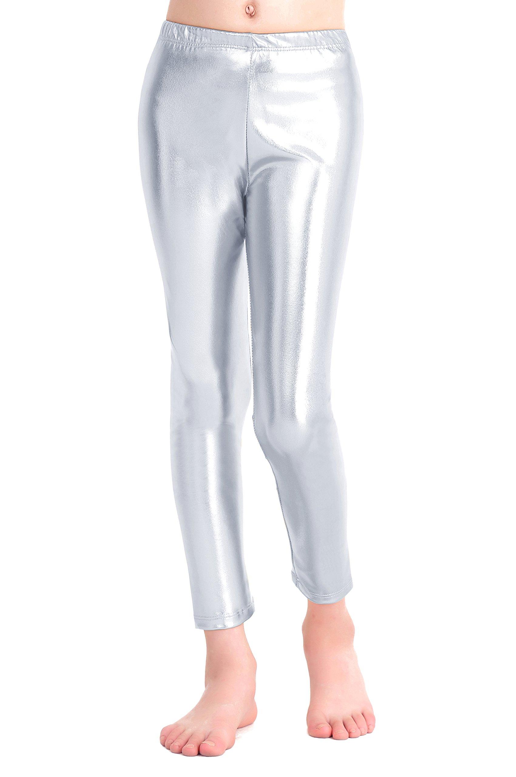 Speerise Girls Kids High Waisted Shiny Metallic Dance Fashion Leggings, Silver, 2-4