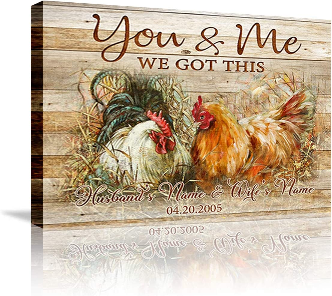 """DesDirect Store Chicken Custom Canvas Farmhouse Hanging You and Me We Got This Custom Name and Day for Love Anniversary Couple - Canvas Art Wall Decor 1.5in Frame - Landscape Wall Art Home 36"""" x 24"""