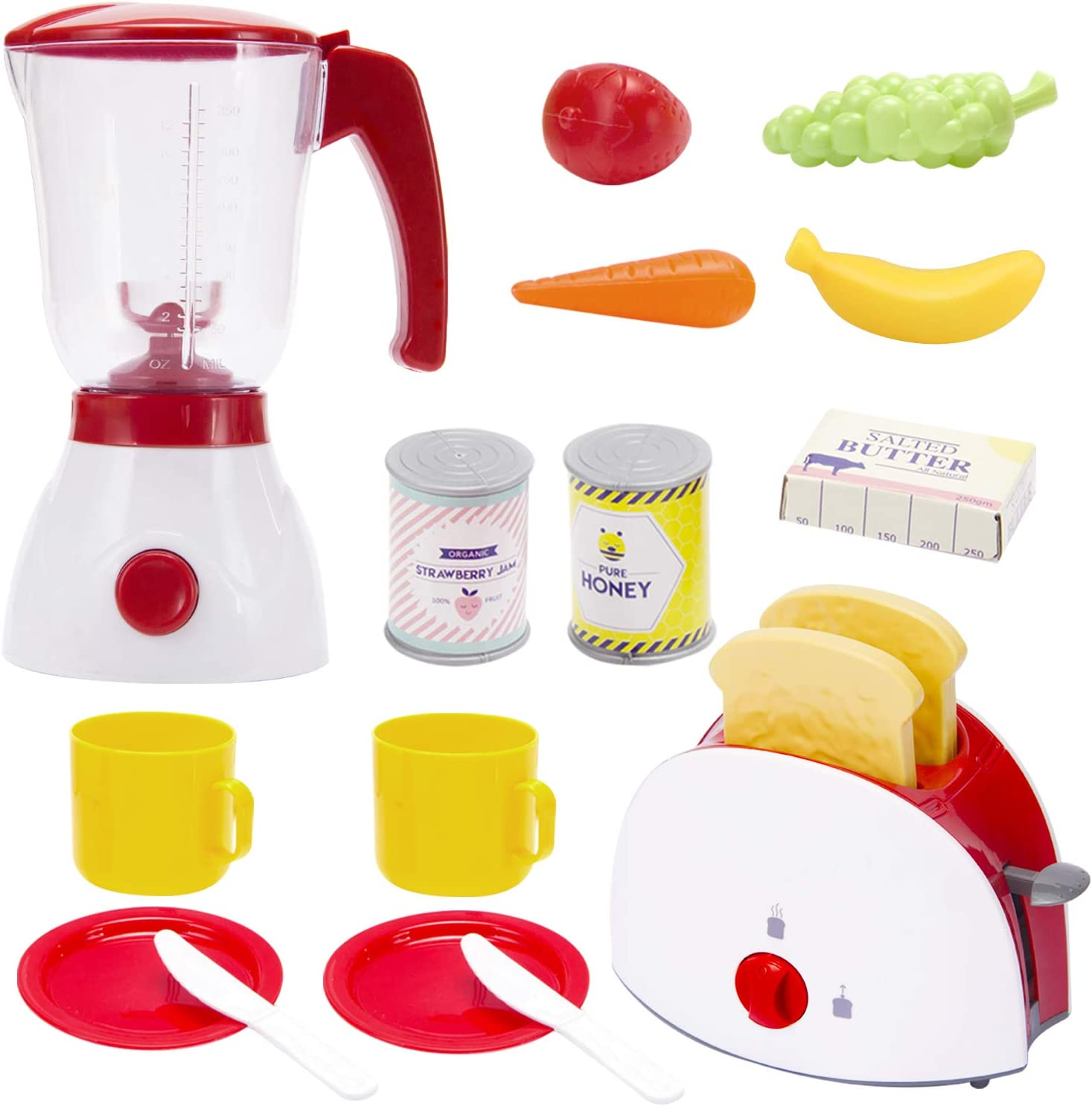 TOY Life Toy Blender and Toy Toaster with Pretend Play Kitchen Accessories for Toddlers Set | Cooking Toy Kitchen Appliances Set Includes Bonus Plates Utensils and Play Food for Kids