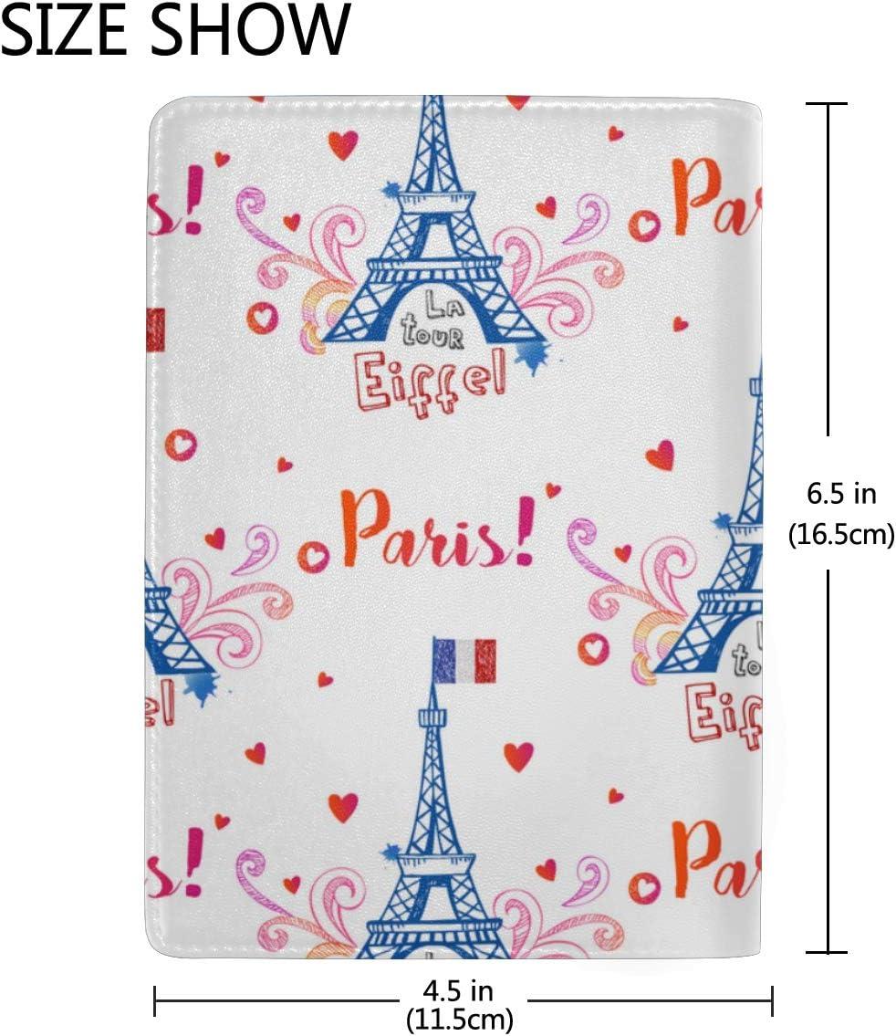 Case My Passport Pink Colourful Eifel Tower Paris Stylish Pu Leather Travel Accessories Personalized Passport Holder Case For Women Men