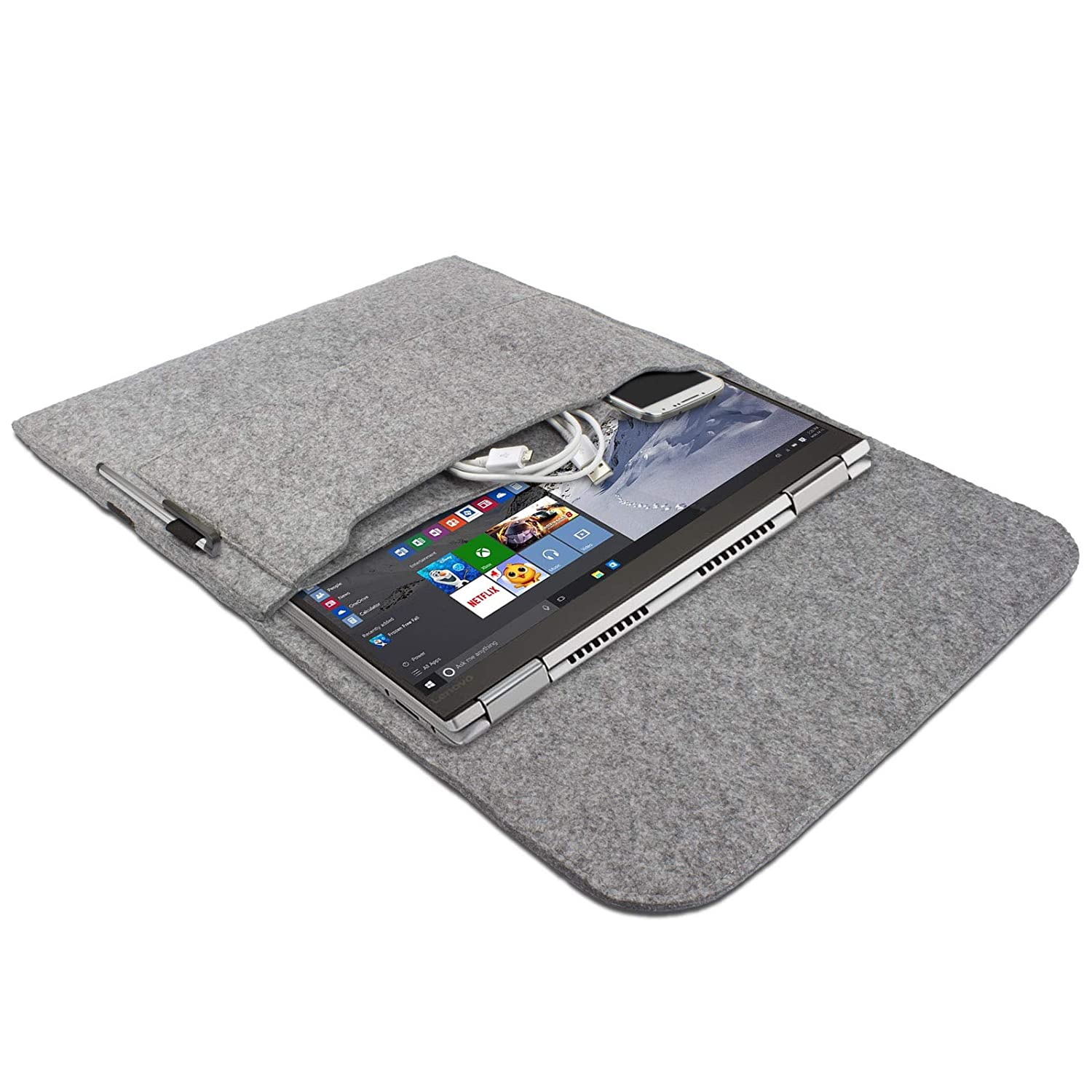 eFabrik – Funda para Lenovo Yoga 710 Funda 14 Pulgadas Ultrabook Notebook Case Soft Cover Funda Sleeve Fieltro Gris Claro