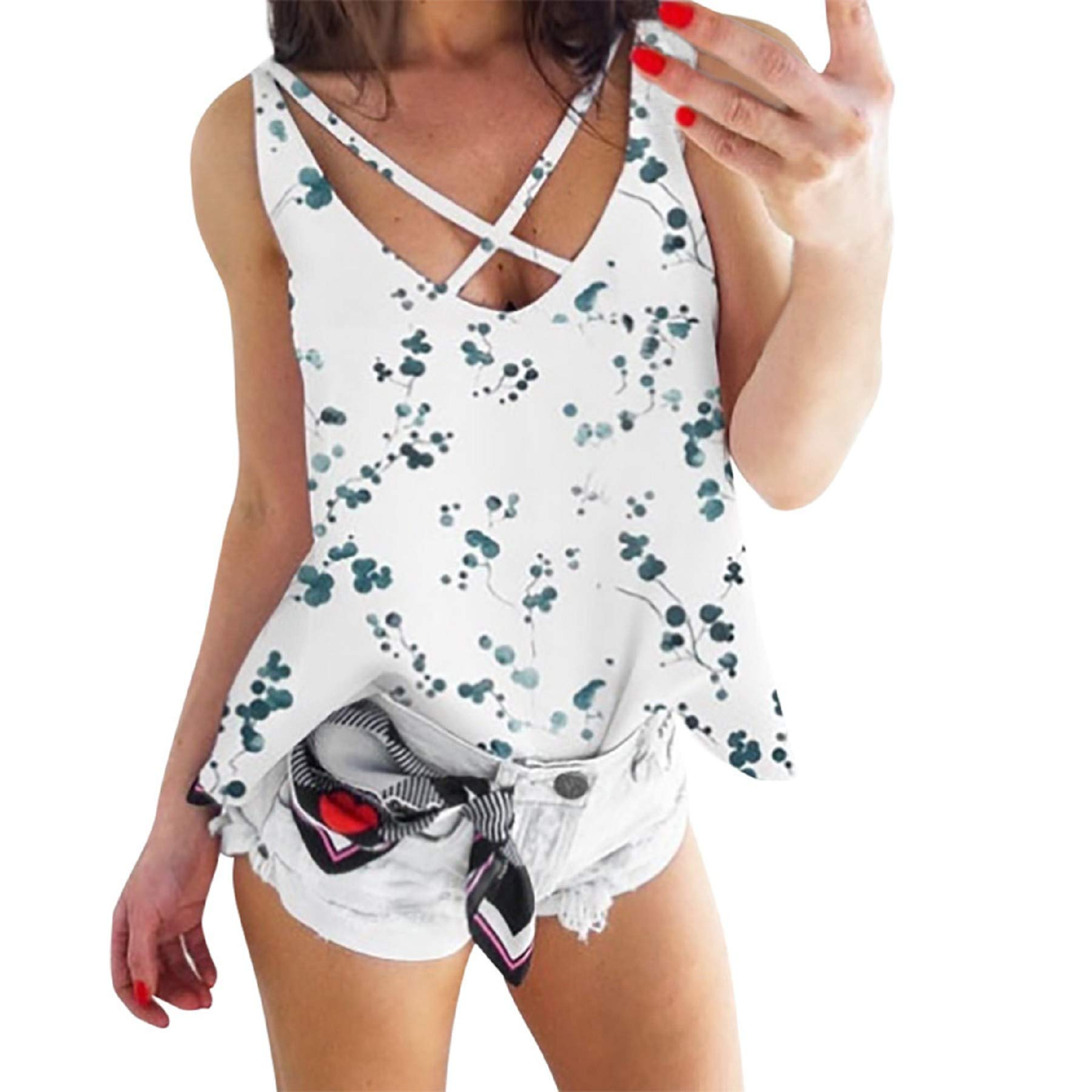 Women's Floral Print V Neck Sleeveless Camis Tops Ladies Casual Summer Criss Cross Blouse Tank Top Vest White