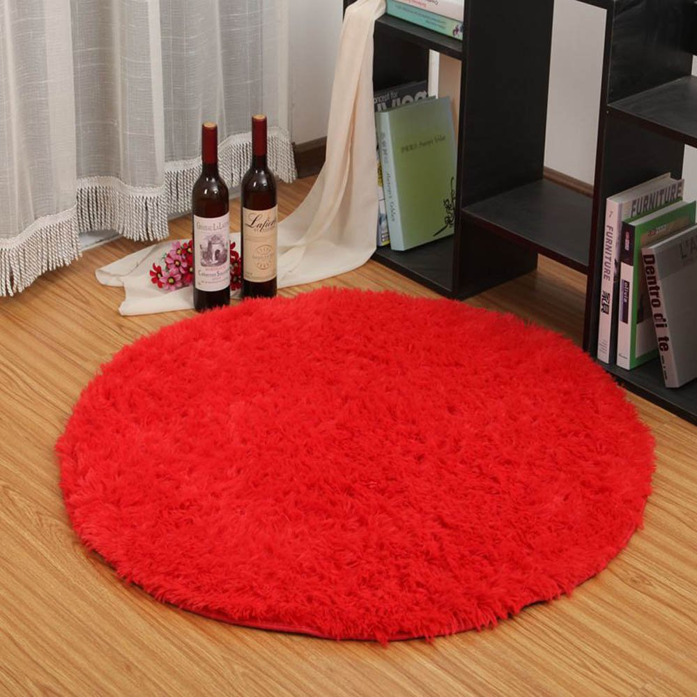 ELEOPTION Round Area Rugs Pads Anti-Skid Wit Super Soft 4.5cm Fluffy Carpets for Hardwood Floors Morden Shaggy Area Pads Carpet Footcloth Children's Rugs for LivingRoom (Diameter 2.6ft, Red)