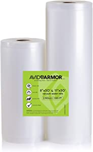 "Avid Armor Vacuum Sealer Bags Roll 2 - Pack for Food Saver and Seal a Meal 11"" x 50' and 8"" x 50' Rolls Heavy Duty Commercial Sous Vide Vacume Storage Cut to Size Bag Embossed"