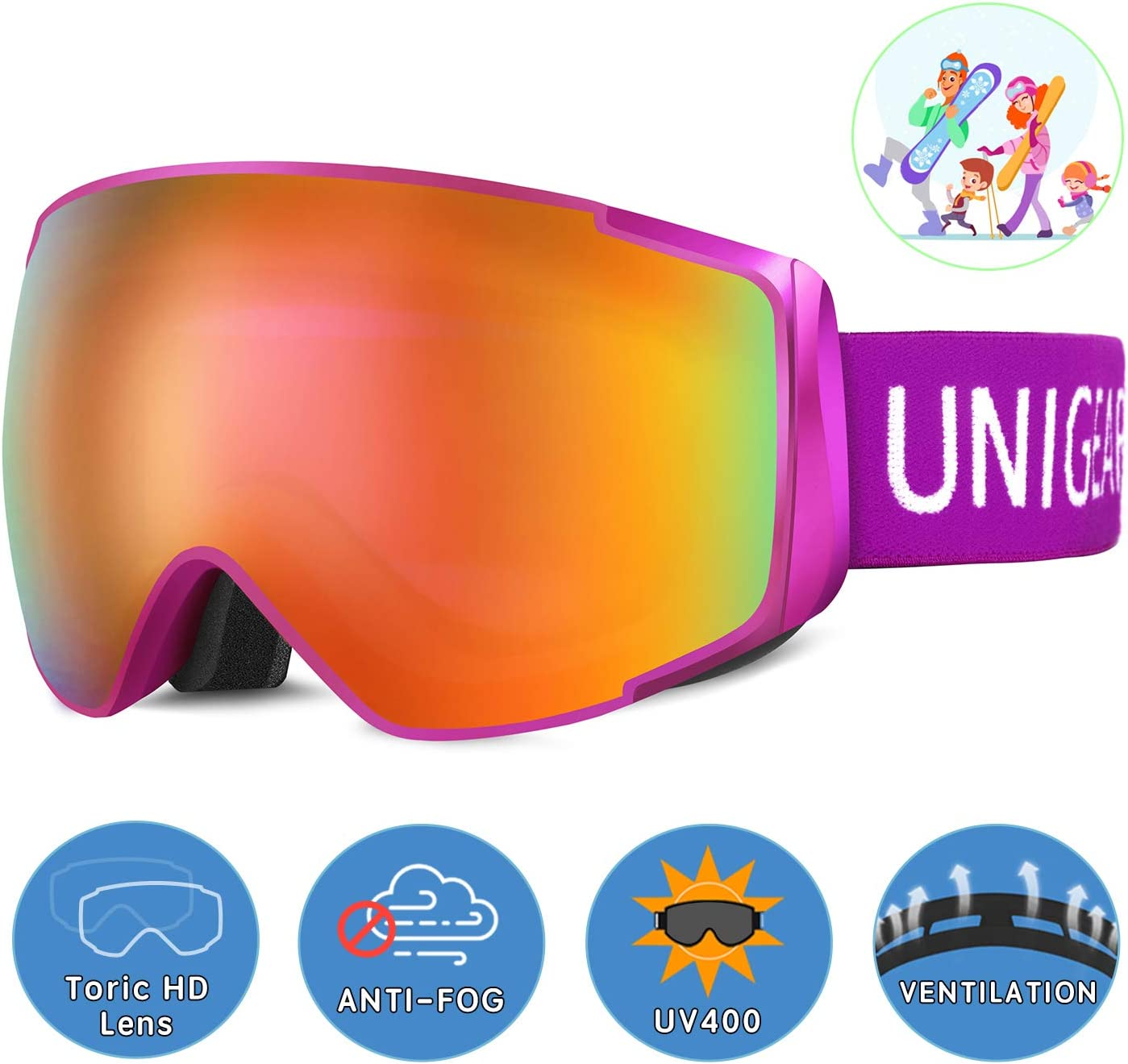 Unigear Skido X2 Ski Goggles, Toric Dual Lens Snowboard Snow Goggles for Kids, Men and Women – OTG 100 UV Protection