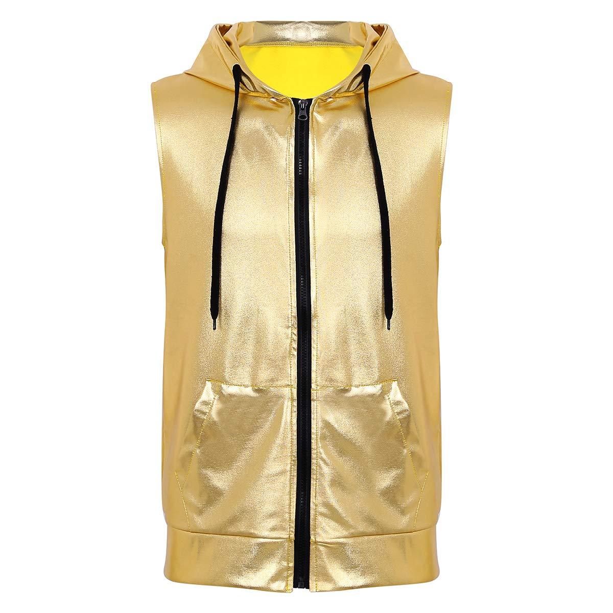 Herren Lack-Optik Tanktop Ärmelloses Shirt Weste Clubwear Kostüm Prty