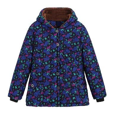 Linlink_Abrigo de Mujer Venta De LiquidacióN De Invierno Caliente Outwear Popular ImpresióN Floral Bolsillos con Capucha Vintage Abrigos De Gran TamañO: ...
