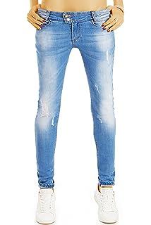 bestyledberlin Damen Skinny Fit Jeans, Enge Hüftjeans, Used Look Röhrenjeans  j30g d5ae493fa9