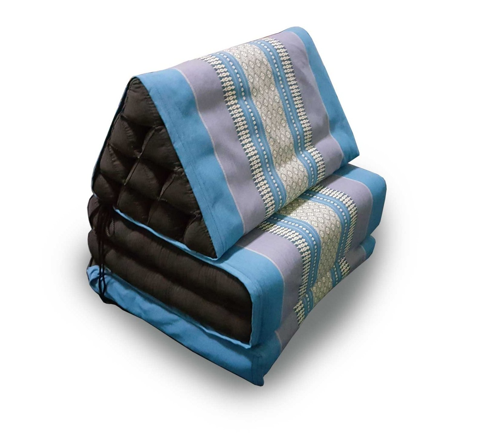 KAIKENG Foldout Triangle Thai Cushion, 67x20x3 inches, Kapok Fabric, Premium Double Stitched, Cover Blue/Cushion Black