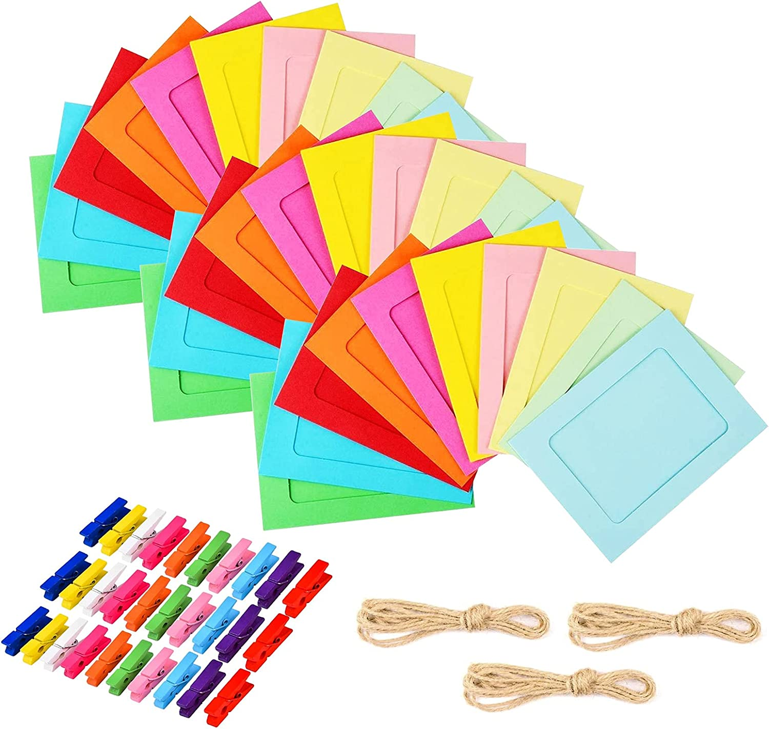 Paper Picture Frames, 30 PCS Colorful Paper Photo Frame 4x6in DIY Cardboard Photo Frames Multi Color Clothespins Hanging Photo Display Frames with 3 Ropes for Home, College, Office