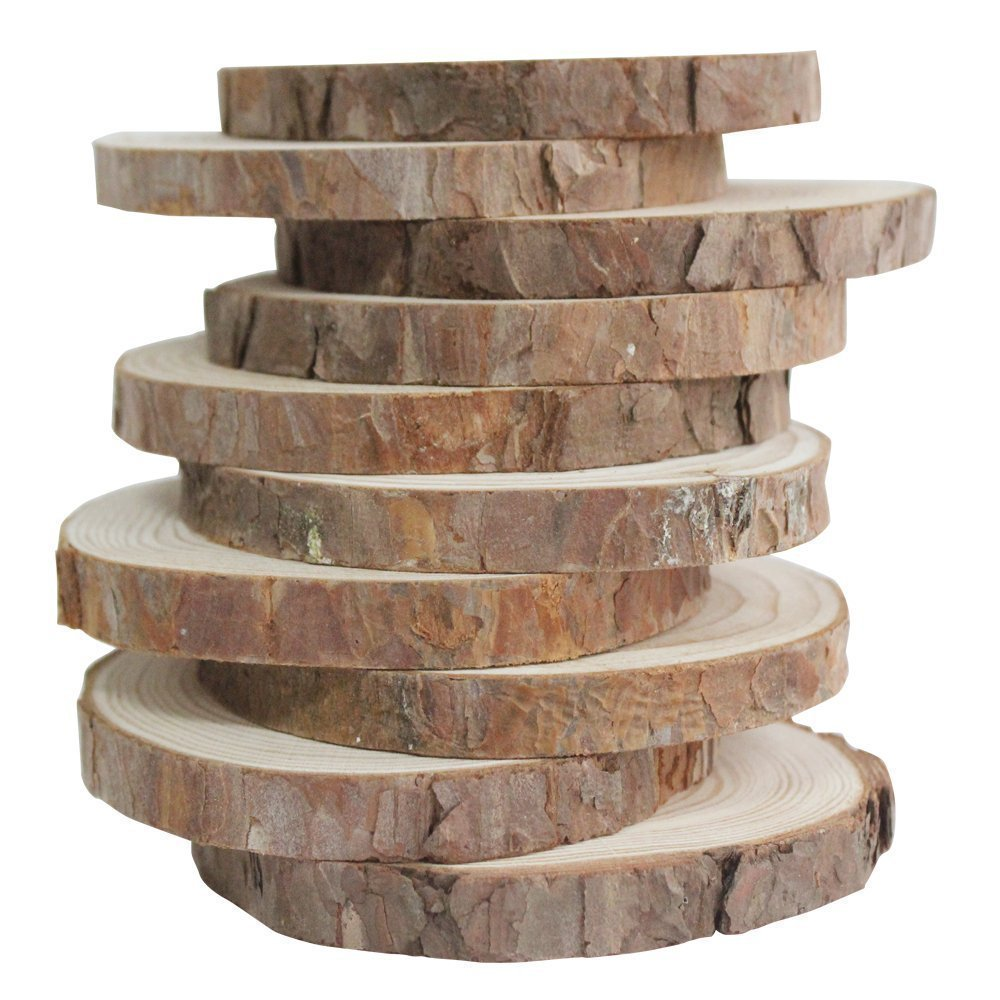 10pcs 3.9 4.7 Unfinished Natural Wood Slices with Bark for DIY Crafts Christmas Rustic Wedding Ornaments