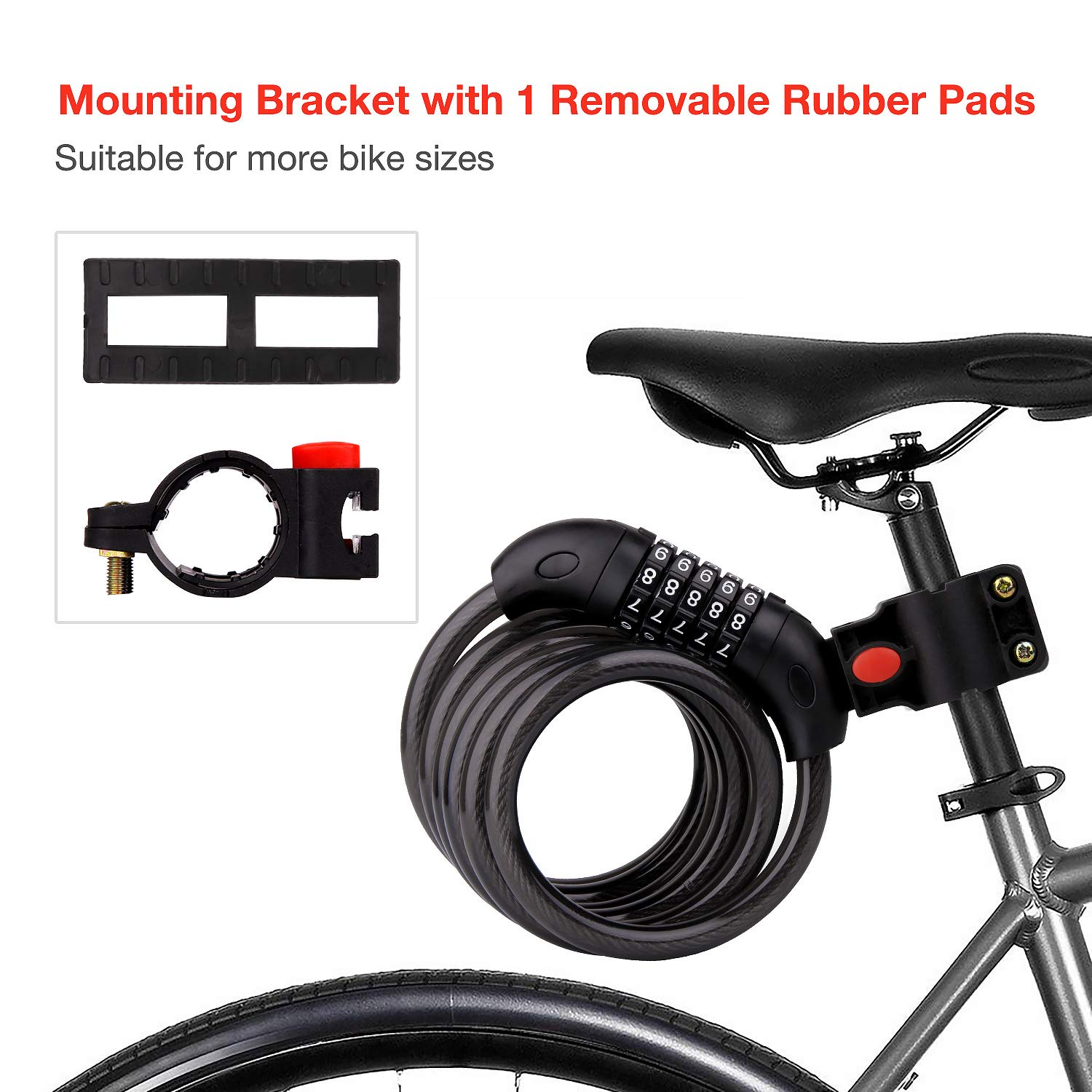 TAKEBEST Bike Lock 12mm Heavy Duty Portable Bicycle Disc Lock, Mountain Bike Locks, Mini Locks, Bicycle Locks That can be Connected Between Locks and Locks, Suitable for All Types of Bicycles.