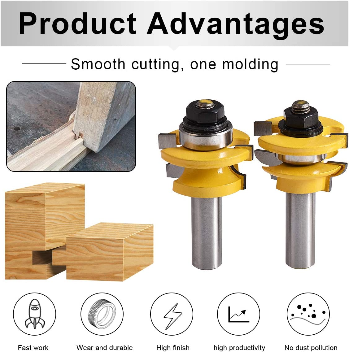 8Shank Woodworking Cutter Rail Stile Router Bit Line Wave Type Wood Milling Tool