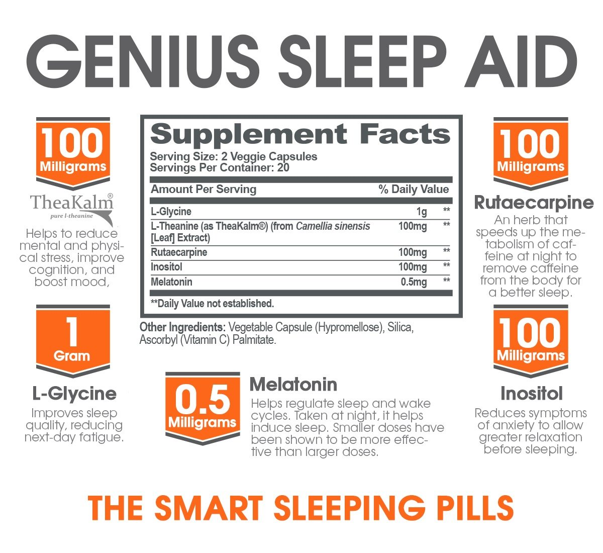 GENIUS SLEEP AID – Smart Sleeping Pills & Adrenal Fatigue Supplement, Natural Stress, Anxiety & Insomnia Relief - Relaxation Enhancer and Mood Support w/Inositol, L-Theanine & Glycine – 40 capsules by The Genius Brand (Image #2)