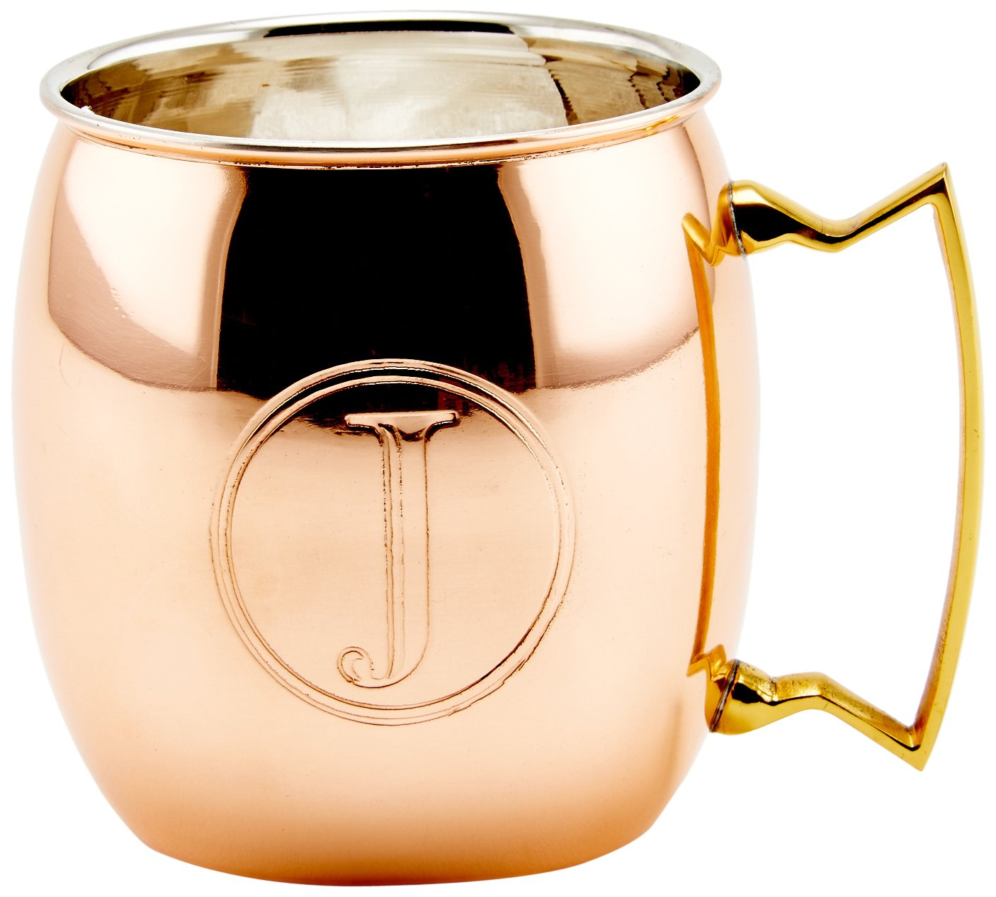 Old Dutch International Solid Moscow Mule Mug, 16-Ounce, Monogrammed J, Copper