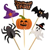 FEPITO 60 Pieces Halloween Decoration Topper Halloween Toothpick Flags Markers for Halloween Party Decor
